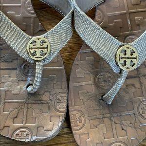 Tory Burch Thora snakeskin flip flops